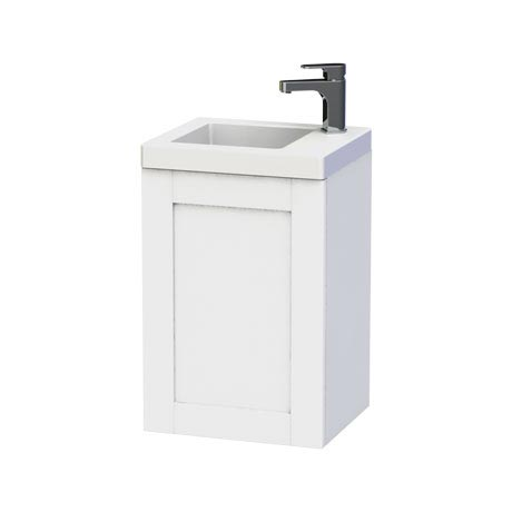 Miller - London 40 Wall Hung Single Door Vanity Unit with Ceramic Basin - White