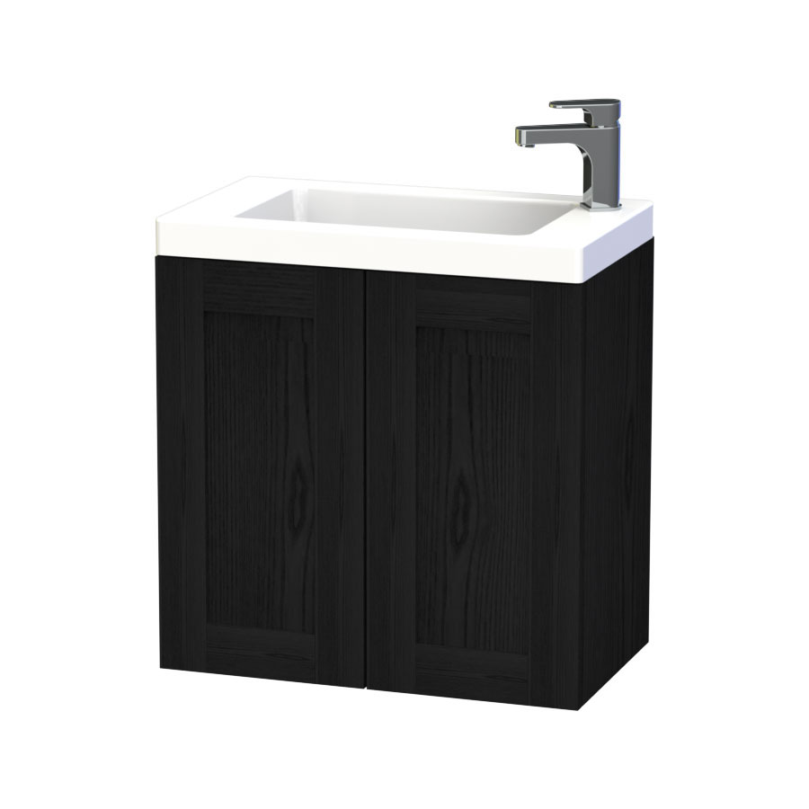 Miller - London 60 Wall Hung Two Door Vanity Unit with Ceramic Basin - Black Large Image