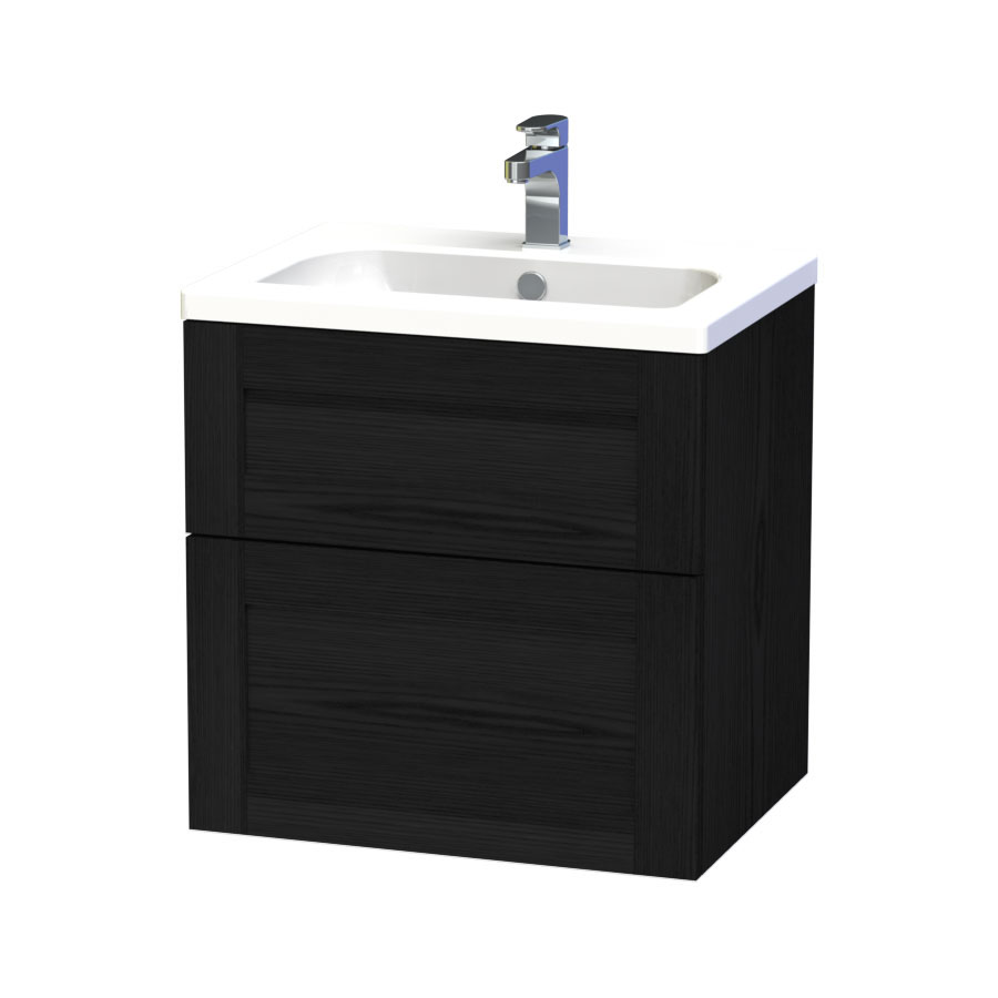 Miller - London 60 Wall Hung Two Drawer Vanity Unit with Ceramic Basin - Black Large Image