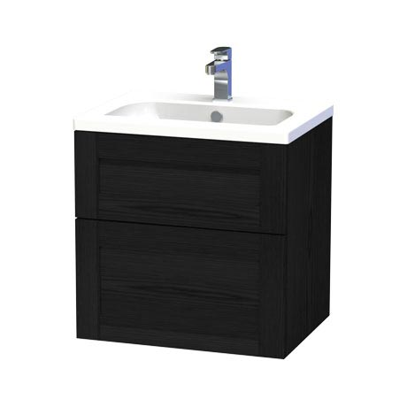Miller - London 60 Wall Hung Two Drawer Vanity Unit with Ceramic Basin - Black