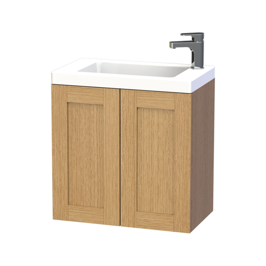 Miller - London 60 Wall Hung Two Door Vanity Unit with Ceramic Basin - Oak Large Image