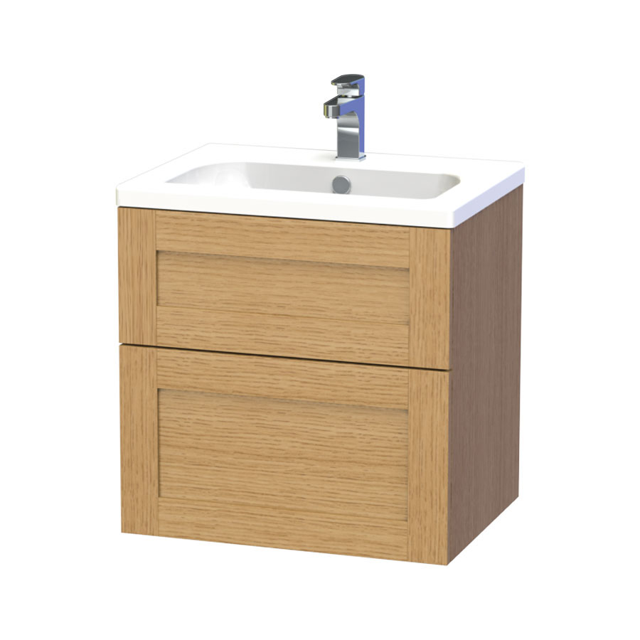 Miller - London 60 Wall Hung Two Drawer Vanity Unit with Ceramic Basin - Oak Large Image