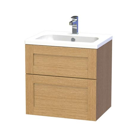 Miller - London 60 Wall Hung Two Drawer Vanity Unit with Ceramic Basin - Oak