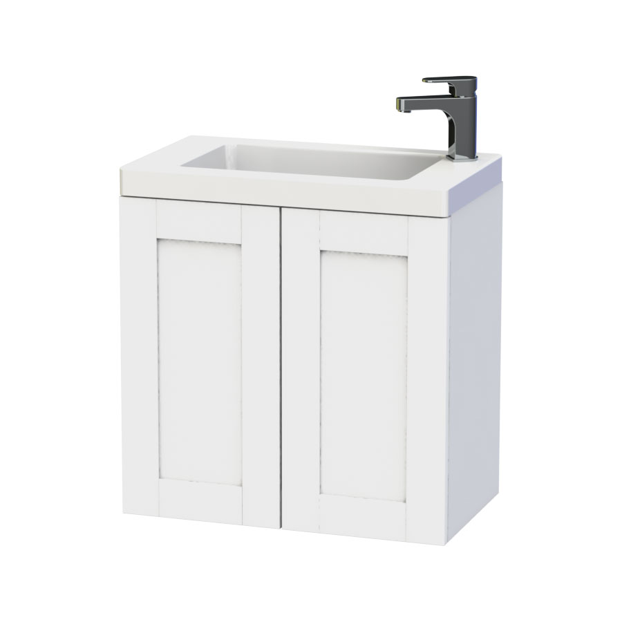 Miller - London 60 Wall Hung Two Door Vanity Unit with Ceramic Basin - White Large Image