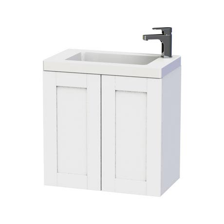 Miller - London 60 Wall Hung Two Door Vanity Unit with Ceramic Basin - White