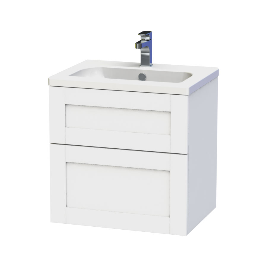 Miller - London 60 Wall Hung Two Drawer Vanity Unit with Ceramic Basin - White Large Image