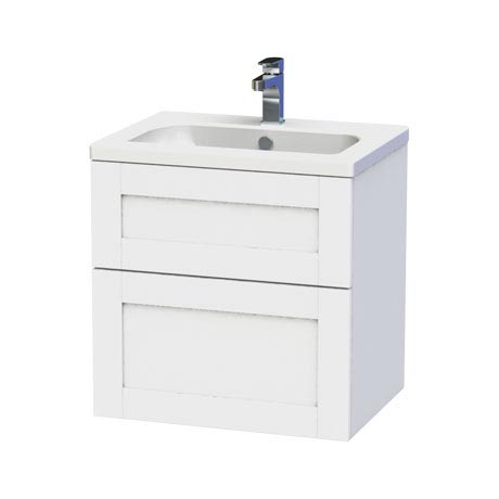 Miller - London 60 Wall Hung Two Drawer Vanity Unit with Ceramic Basin - White