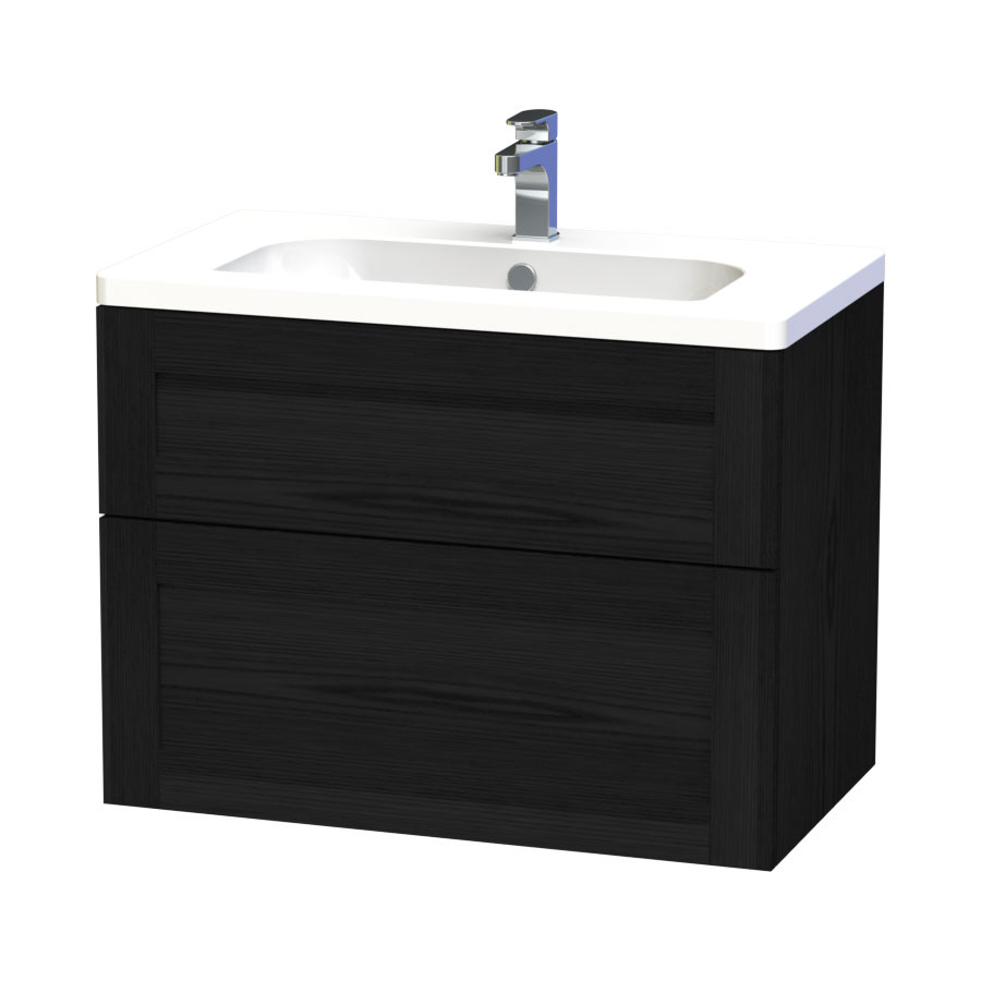 Miller - London 80 Wall Hung Two Drawer Vanity Unit with Ceramic Basin - Black Large Image