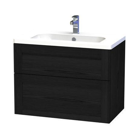 Miller - London 80 Wall Hung Two Drawer Vanity Unit with Ceramic Basin - Black