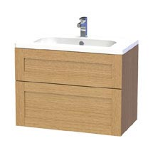 Miller - London 80 Wall Hung Two Drawer Vanity Unit with Ceramic Basin - Oak Medium Image