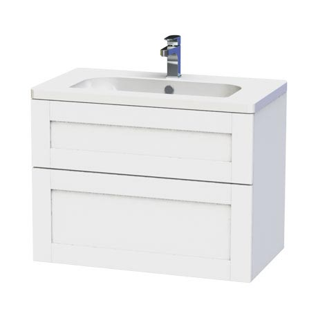 Miller - London 80 Wall Hung Two Drawer Vanity Unit with Ceramic Basin - White
