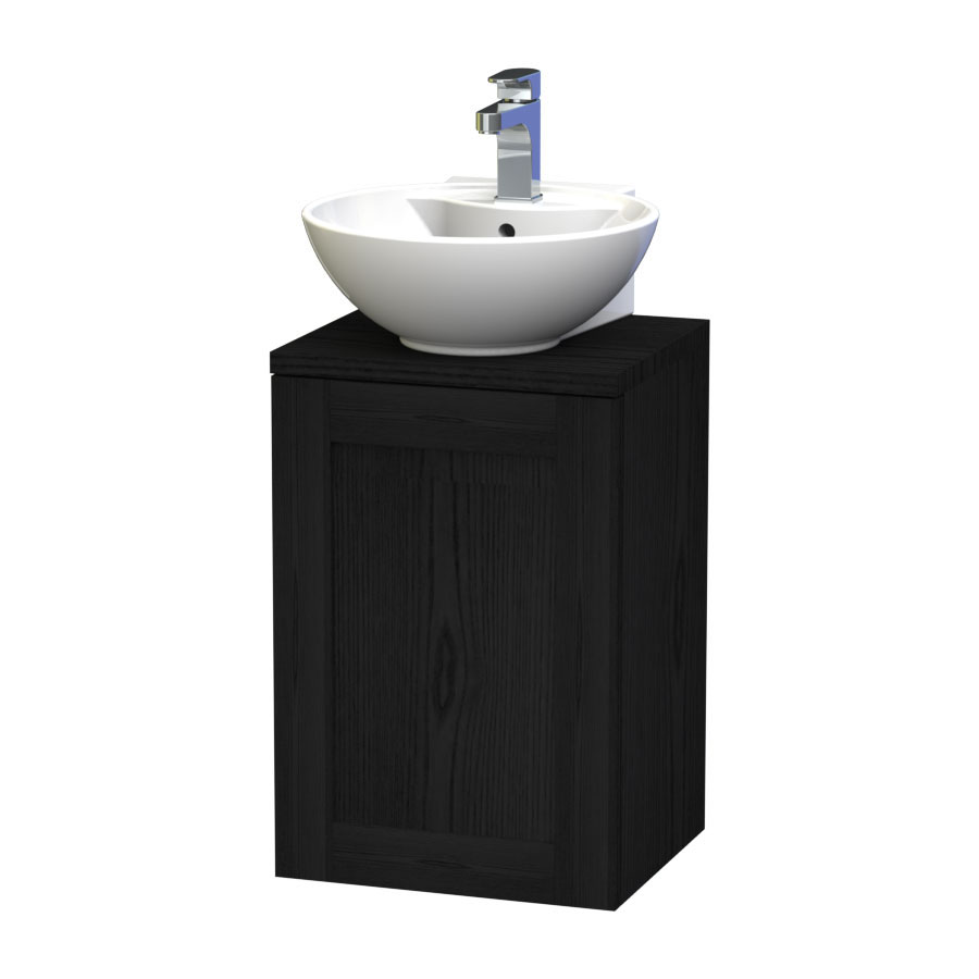 Miller - London 40 Wall Hung Single Door Vanity Unit with Worktop & Ceramic Basin - Black profile large image view 1