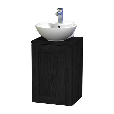 Miller - London 40 Wall Hung Single Door Vanity Unit with Worktop & Ceramic Basin - Black