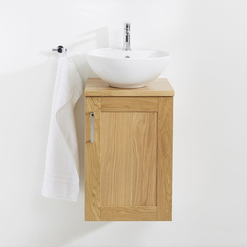 Miller - London 40 Wall Hung Single Door Vanity Unit with Worktop & Ceramic Basin - Oak In Bathroom Large Image