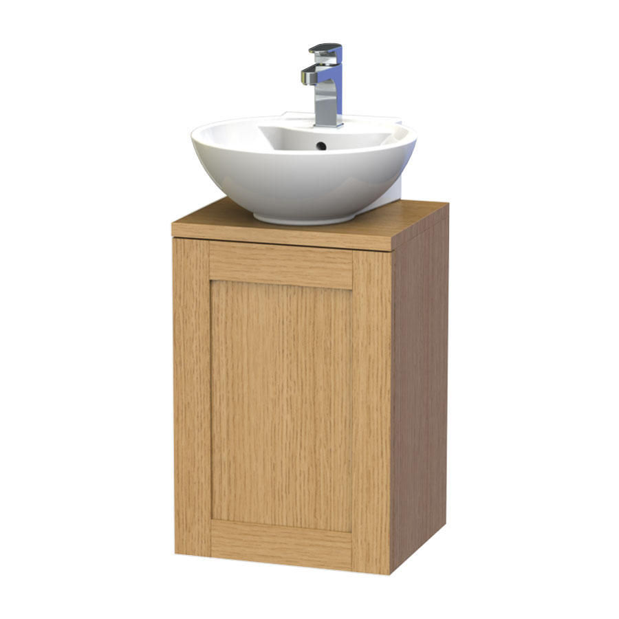 Miller - London 40 Wall Hung Single Door Vanity Unit with Worktop & Ceramic Basin - Oak Large Image