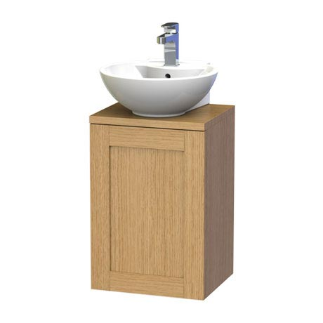 Miller - London 40 Wall Hung Single Door Vanity Unit with Worktop & Ceramic Basin - Oak