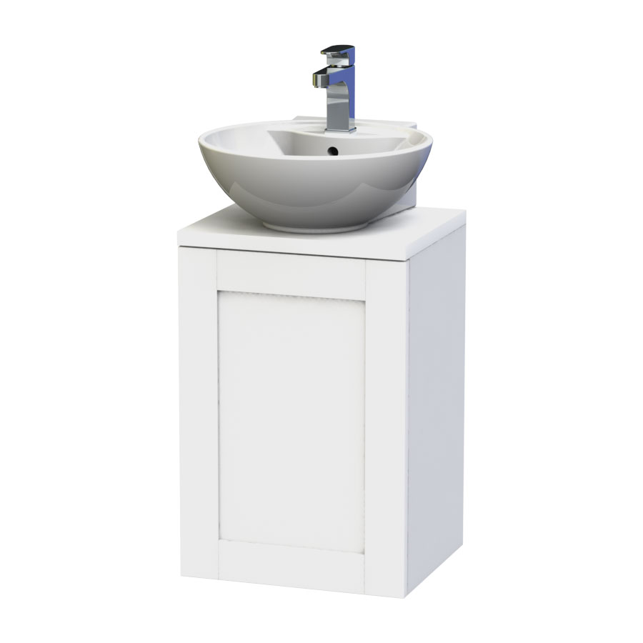 Miller - London 40 Wall Hung Single Door Vanity Unit with Worktop & Ceramic Basin - White Large Image