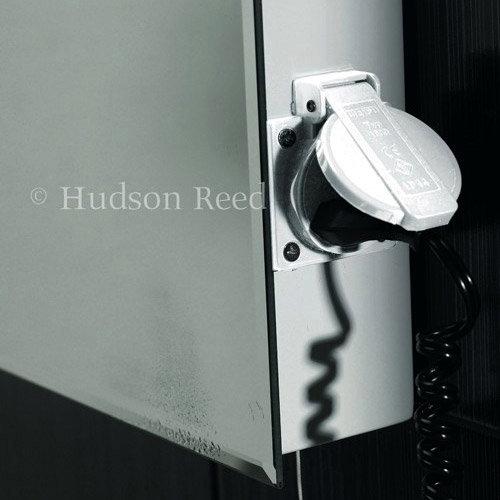 Hudson Reed Panorama Motion Sensor Backlit Mirror w/ Shaving Socket, Digital Clock & De-Mist Pad profile large image view 2