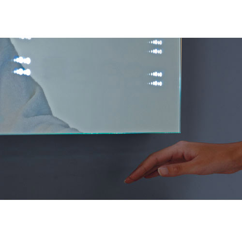 Hudson Reed Panorama Motion Sensor Backlit Mirror w/ Shaving Socket, Digital Clock & De-Mist Pad profile large image view 4