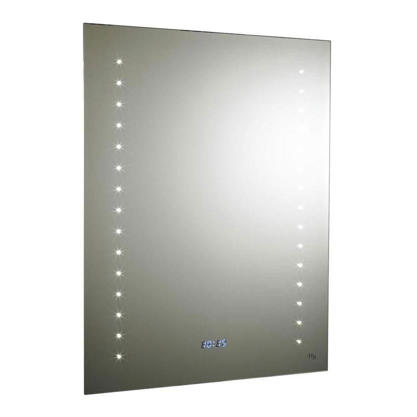 Hudson Reed Panorama Motion Sensor Backlit Mirror w/ Shaving Socket, Digital Clock & De-Mist Pad Lar
