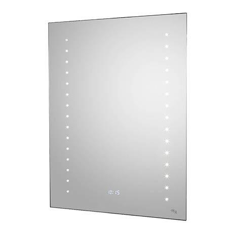 Hudson Reed Panorama Motion Sensor Backlit Mirror w/ Shaving Socket, Digital Clock & De-Mist Pad