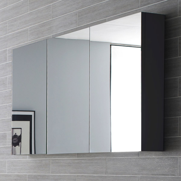 Hudson Reed - Quartet Mirror Cabinet - High Gloss Grey - LQ055 profile large image view 2
