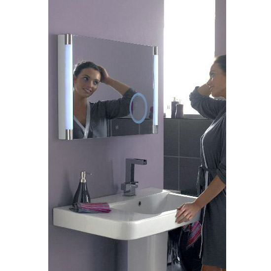 Hudson Reed - Lara Touch Sensor LED Mirror with Integrated Magnifying Mirror - LQ058 profile large image view 2