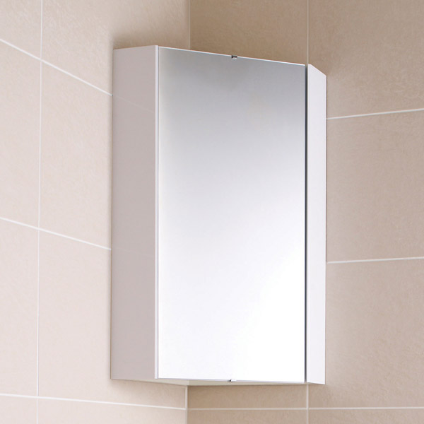 Ultra - Design Gloss White Corner Mirror Cabinet with one shelf - LQ059 Profile Large Image