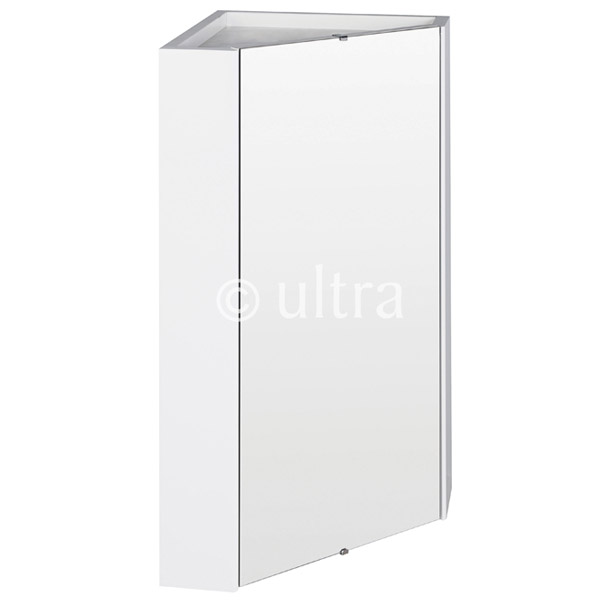 Ultra - Design Gloss White Corner Mirror Cabinet with one shelf - LQ059 Large Image