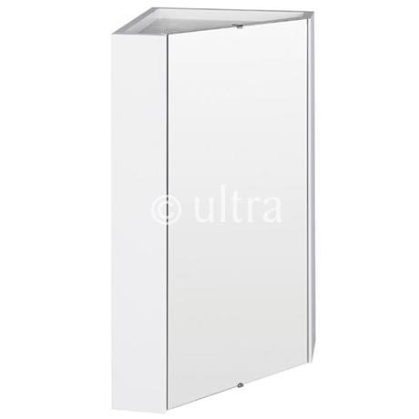 Ultra - Design Gloss White Corner Mirror Cabinet with one shelf - LQ059