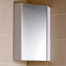 Hudson Reed - Design Gloss White Corner Mirror Cabinet with one shelf - LQ059
