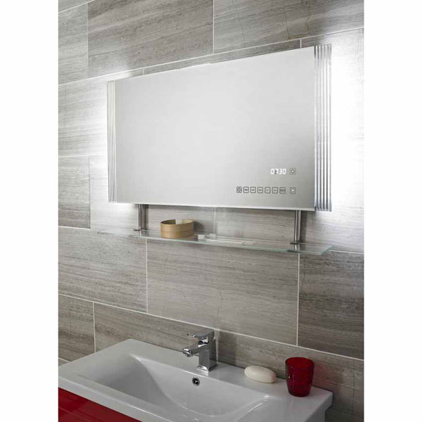 Ultra Portal Backlit Mirror with Clock, USB Port & Shelf - LQ065 profile large image view 2