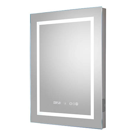 Hudson Reed Prisma 500mm Bluetooth LED Touch Sensor Mirror with Clock & Demister Pad - LQ091