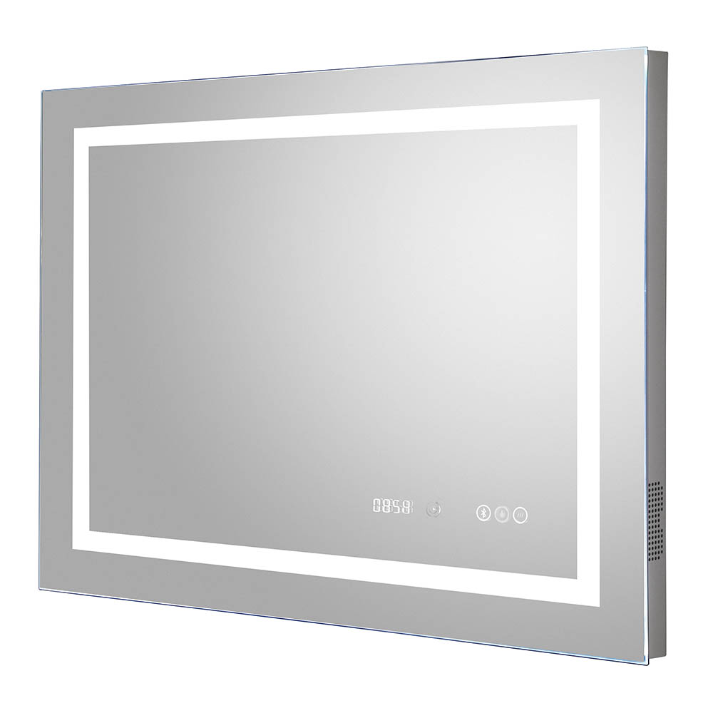 Hudson Reed Prisma 800mm Bluetooth LED Touch Sensor Mirror with Clock & Demister Pad - LQ092