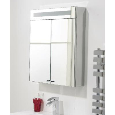 Hudson Reed Tuscon Stainless Steel Bathroom Cabinet with 2 Doors & Light - LQ334 Profile Large Image