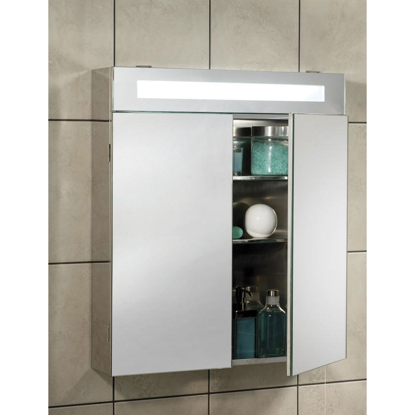 Hudson Reed Tuscon Stainless Steel Bathroom Cabinet with 2 Doors & Light - LQ334 Standard Large Image