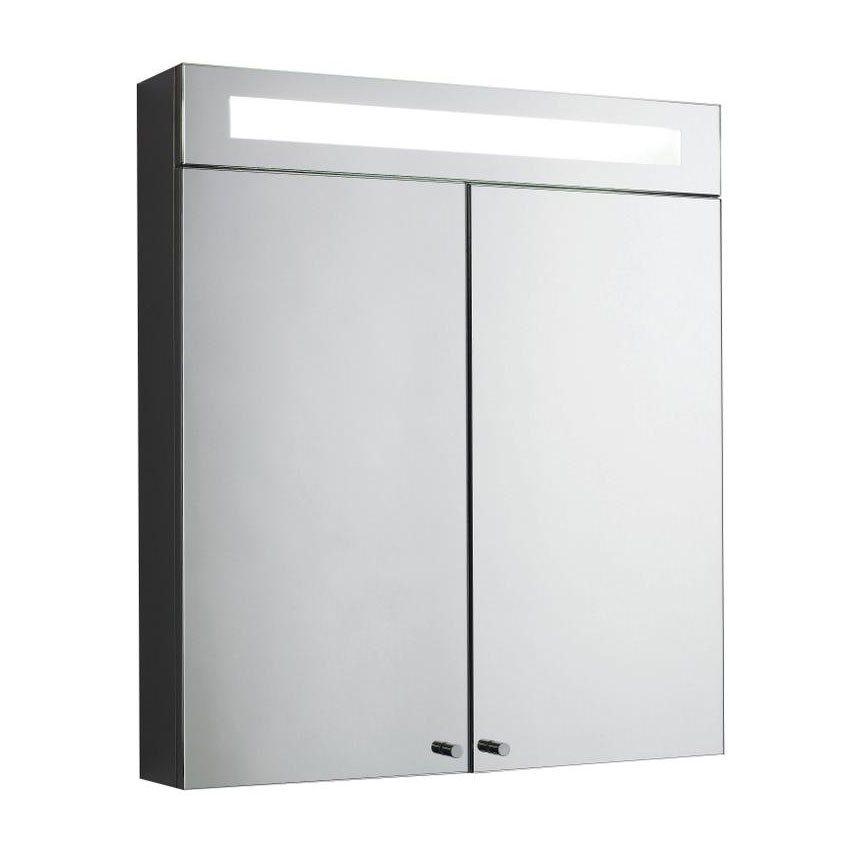 Hudson Reed Tuscon Stainless Steel Bathroom Cabinet with 2 Doors & Light - LQ334 Large Image