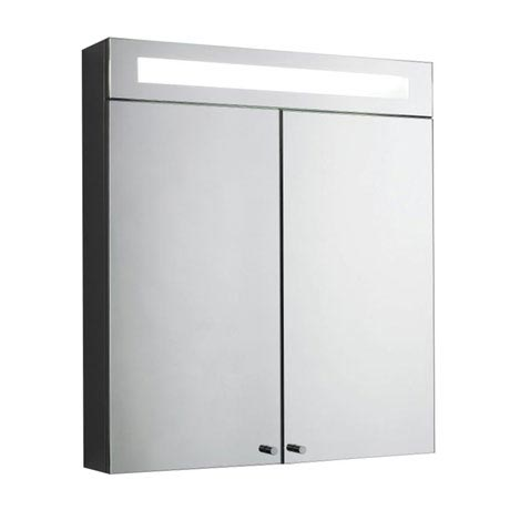 Hudson Reed Tuscon Stainless Steel Bathroom Cabinet with 2 Doors & Light - LQ334