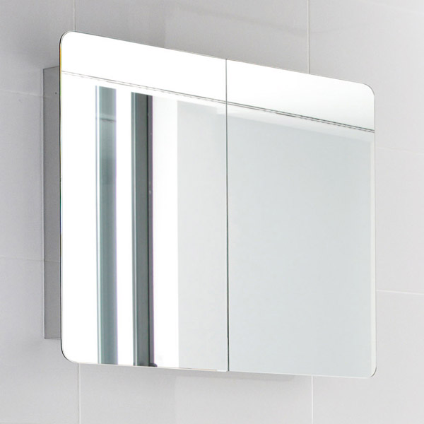 Ultra Mimic Stainless Steel Double Mirrored Cabinet with Hinged Doors - LQ383 Profile Large Image