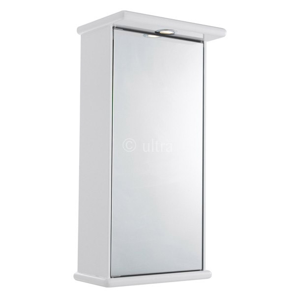 Ultra Niche Single Mirror Cabinet with Light, Shaving Socket and Digital Clock
