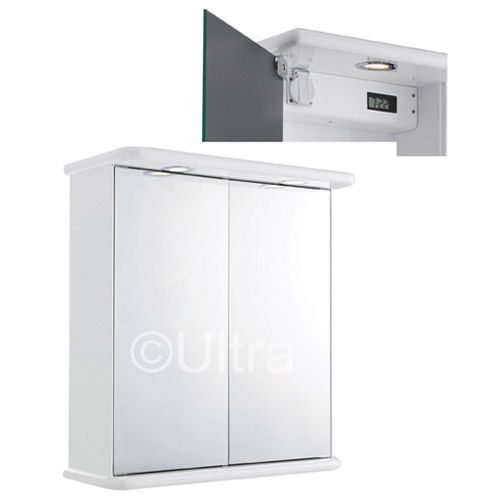 Ultra Niche Double Mirror Cabinet with Light, Shaving Socket and Digital Clock - LQ387 profile large image view 2