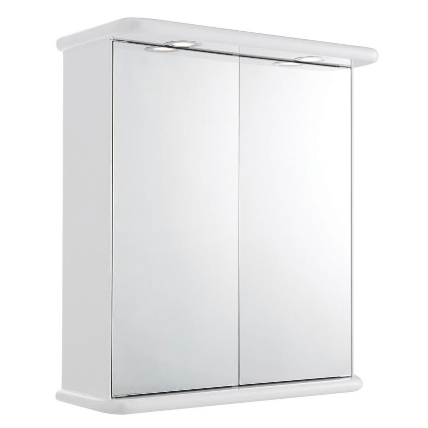 Ultra Niche Double Mirror Cabinet with Light, Shaving Socket and Digital Clock - LQ387 Large Image