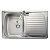 Rangemaster Compact 800 x 508mm Stainless Steel 1 Bowl Kitchen Sink - LR8001 profile small image view 1
