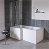 Milan Square Shower Bath - 1700mm Inc. Screen + MDF Panel profile small image view 1