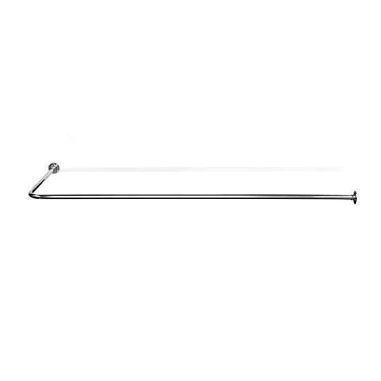 "L-Shaped Shower Curtain Rail - 1.25"" Tube - Chrome - 2 Size Options Large Image"