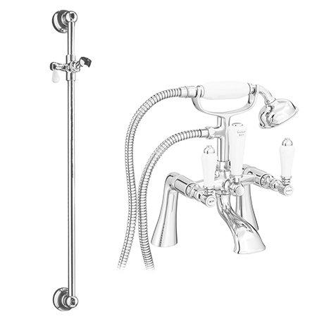 Lancaster Traditional Bath Shower Mixer with Slider Rail Kit - Chrome