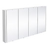 Nuie 1200 Gloss White Minimalist 4-Door Mirror Cabinet profile small image view 1