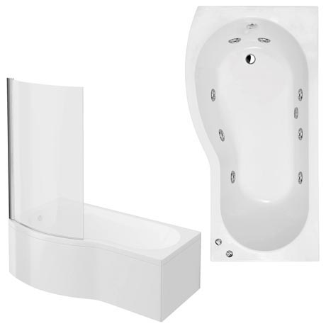 Laguna Whirlpool Spa 8 Jet B-Shaped Shower Bath with Screen + Panel