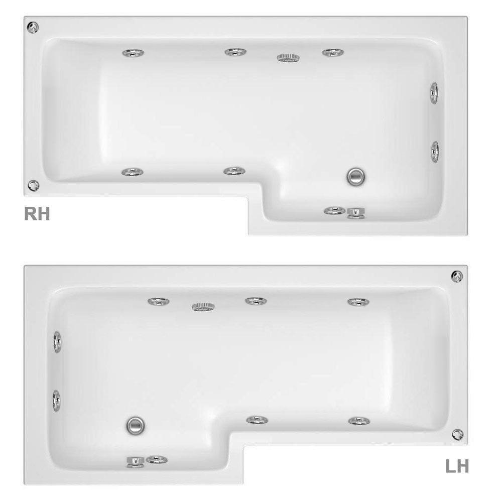Laguna Whirlpool Spa 8 Jet L-Shaped Shower Bath + Screen  Profile Large Image