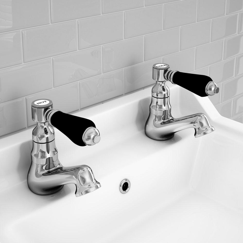 Lancaster Black Traditional Basin Taps profile large image view 2